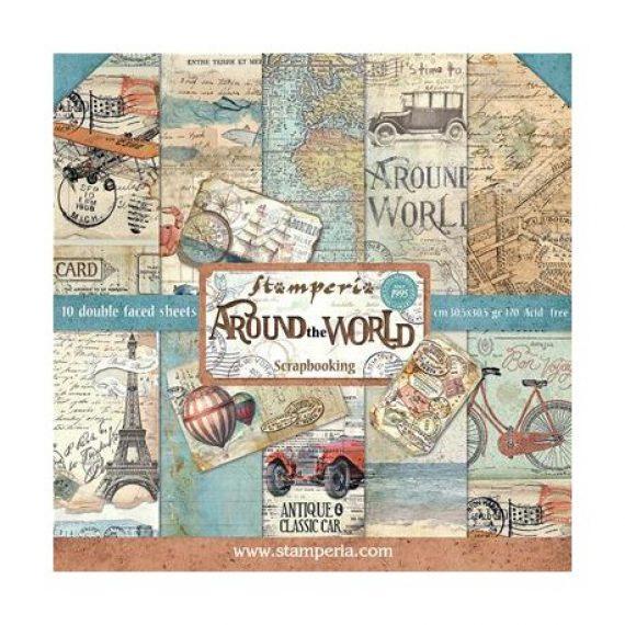 """Kit """"Around the World"""" de Stampería de 30,5 x 30,5 cm."""