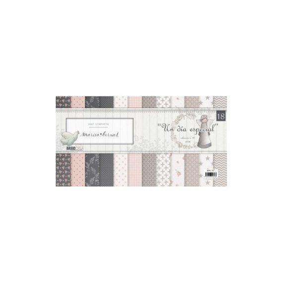 """Kit 18 Papeles Estampados 12x12 """"Un día Especial"""" de Marisa Bernal"""