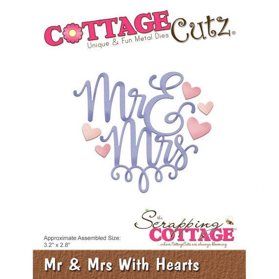"Die Cut ""Mr & Mrs with Hearts"" de Cottage Cutz"