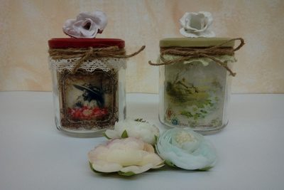 Tarros decorados con decoupage