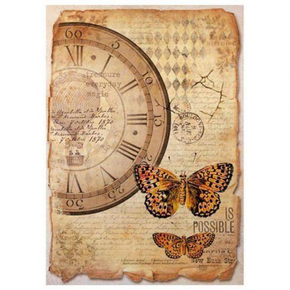 """Papel arroz Din A4 """"mariposa y reloj"""" de Stampería"""