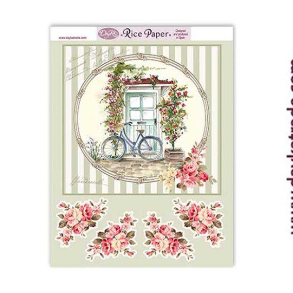 """Papel de arroz """"bici y flores """" de Dayka Trade"""